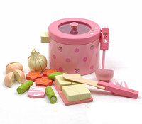 [TOP] Play house toy Simulation Vegetable Hot Pot Wooden Toys kitchen cook Prentend Play Food Tofu Knife Pan Set Birthday Gift