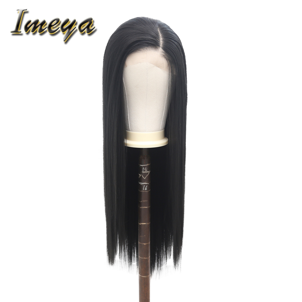 Imeya 13x6 Synthetic Lace Front Wigs For Women Silky Straight High Temperature Heat Resistant Fiber Hair Women Wigs