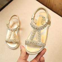 2018 Summer School Shoes For Girls Kids Baby Girls Sandals Crystal Beach Sandals Princess Roman Shoes Dropshipping 823(China)