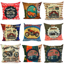 2019 retro cotton linen pillowcase home decoration sofa pillow car seat bed backrest cushion cover classic car nostalgic style(China)