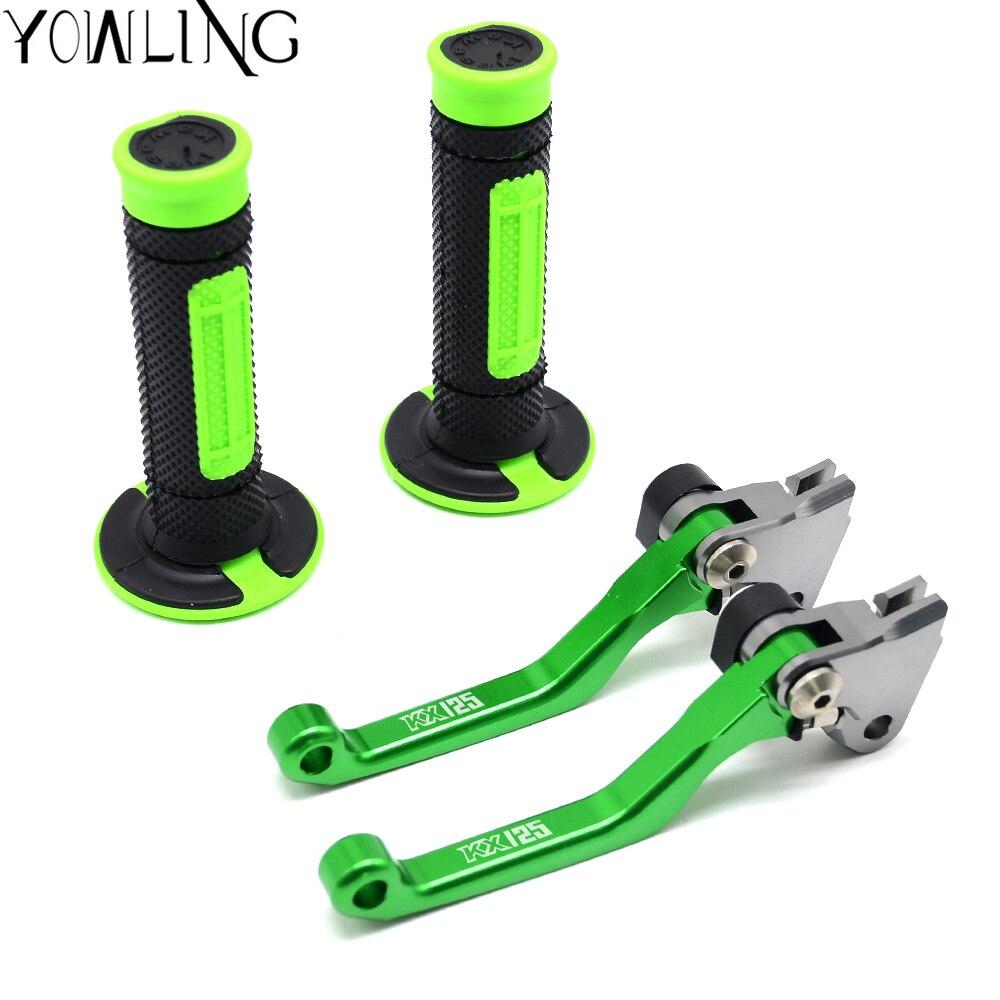 Hand Grips Handle Rubber Bar Grip Pit bike CNC Pivot Brake Clutch Lever For Kawasaki KX125 KX 125 2000 2001 2002 2003 2004 2005