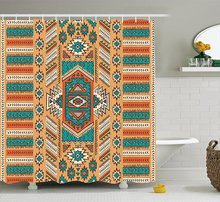 Tribal Shower Curtain Ethnic Aztec Secret Tribe Pattern In Native American Bohemian Style Decor Set With