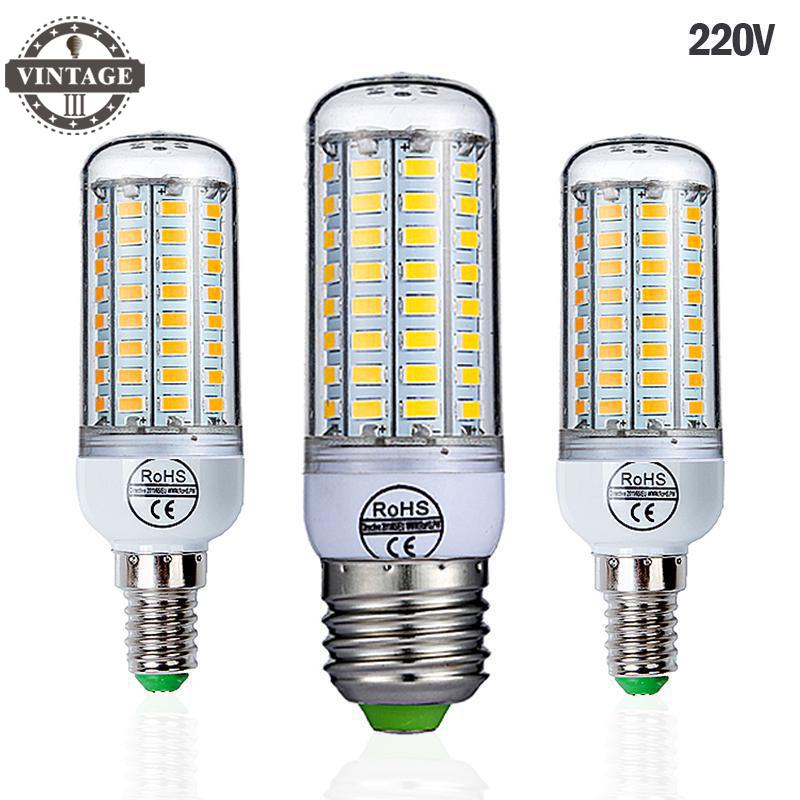 VintageIII E27 LED Lamp 220V SMD 5730 E14 LED Light 24 36 48 56 69 72 LEDs Corn Bulb Chandelier For Home Lighting LED Bulb