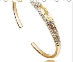Австрийский Кристалл глаз тапочки AAAA+ стразы манжета жесткий Браслет Подарочный качество модные ювелирные изделия Прямая поставка Новое поступление - Окраска металла: gold champage