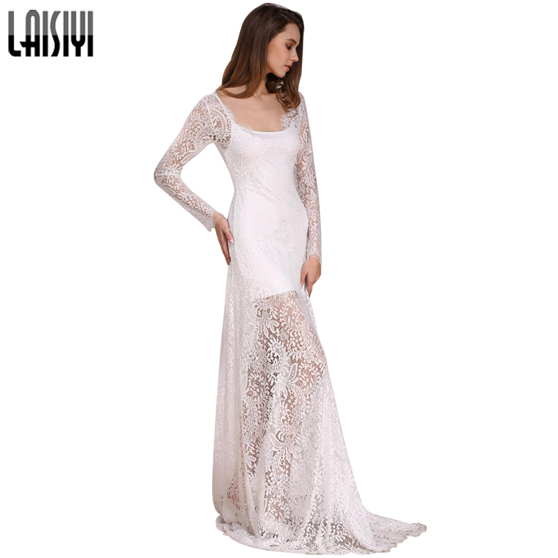 LAISIYI 2019 Σέξυ δαντέλα μακρύ φόρεμα V-neck Μακρυμάνικο μακρύ μανίκι Μακρυμάνικα φορέματα Maxi Φορέματα Καλοκαιρινό Vestidos Plus Μέγεθος Μαύρο Λευκό ASDR20034