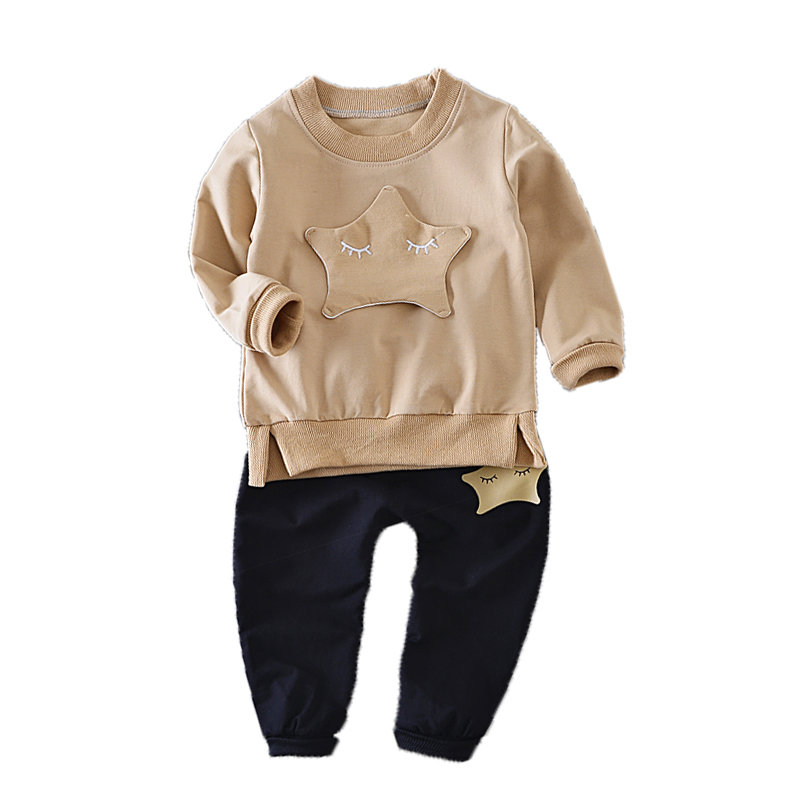 ФОТО Baby Clothes 2017 New Fashion Spring Casual Long Sleeve Round Collar Tracksuit For Girls Stars Children Clothing Sets Girl Kids