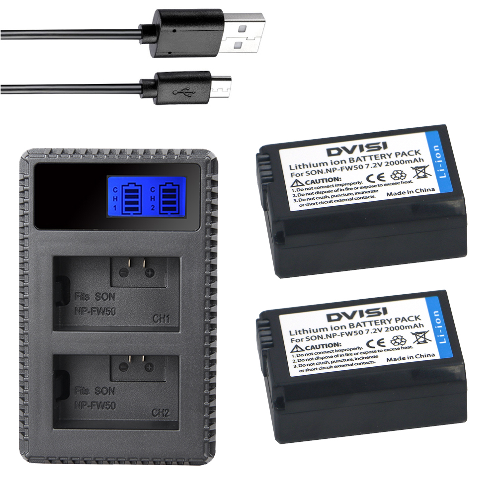 2x DVISI NP FW50 NP-FW50 Camera Battery + LCD Charger for SONY NEX 5T 5R 5TL 5N 5C 5CK A7R A7 F3 3N 3CA55 A37 A5000 A6000 A55 2x 1500mah np fw50 np fw50 digital camera battery charger for sony alpha 7 a7 7r a7r 7s a7s a3000 a5000 a6000 nex 5n 5c a55