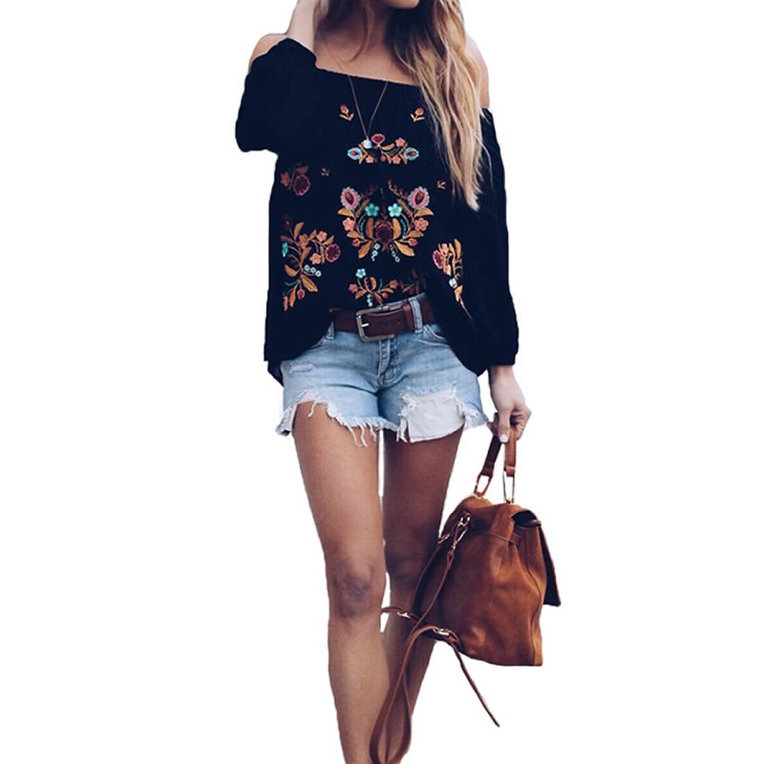2018 Vintage Sexy Backless Strapless Off Shoulder Floral Print Embroider Blouse Black Backless Slash Neck Women Blouses Shirts
