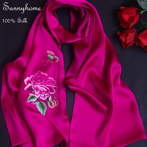 bb720e2553ce Fait à la main Xiang Broderie 100% satin de soie Patchwork châle pashmina  rose rouge Foulards luxry Cadeau normale partie accessoire écharpe dans  Foulards ...