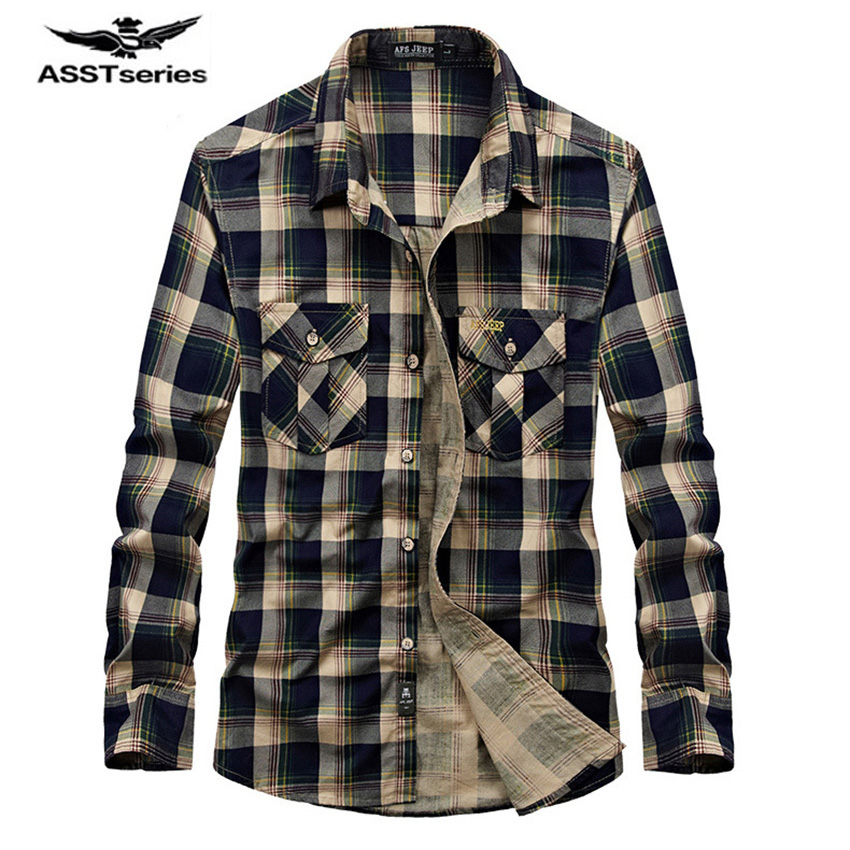 Hot Sale Free Shipping AFS Jeep Men Long Sleeve Plaid Shirt Bata Multi Pockets Coat Fall Cotton Men Men Thin Shirt Z73