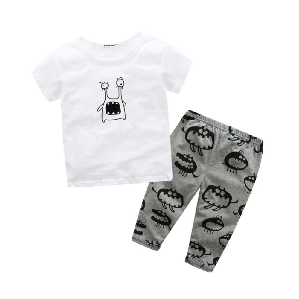 Infant Baby Sets Boy Short Sleeve T-shirt+Pant Kids Spring Outfits Set Toddler Monster Baby Girls Clothes LL4 infant clothes set baby boy clothes white long sleeve shirt gray vest pant 2pcs set new born baby boy clothing set baby suits