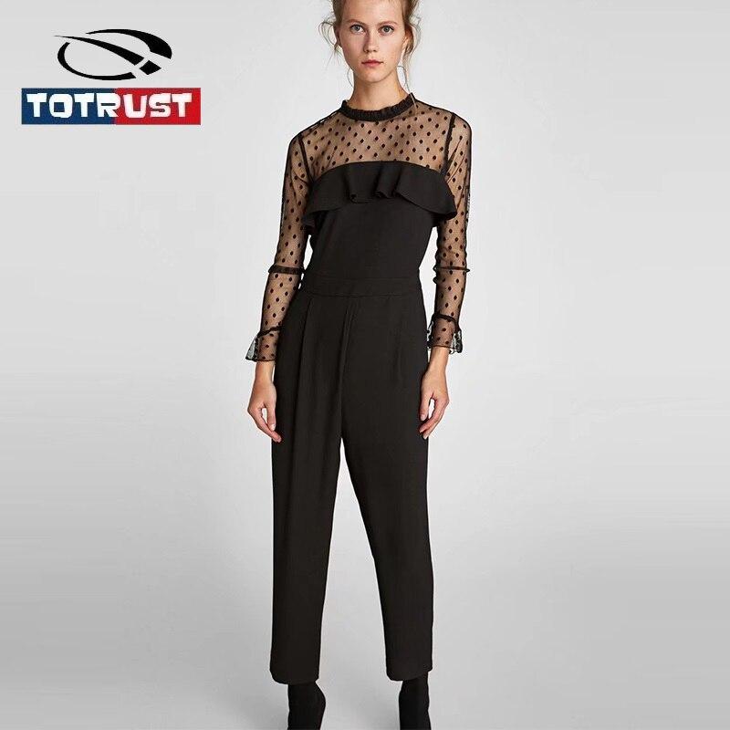 Totrust черный комбинезон для Для женщин с длинным рукавом 2018 Новый сексуальный женский сиамские штаны сетки женщина комбинезон Combinaison Femme ...