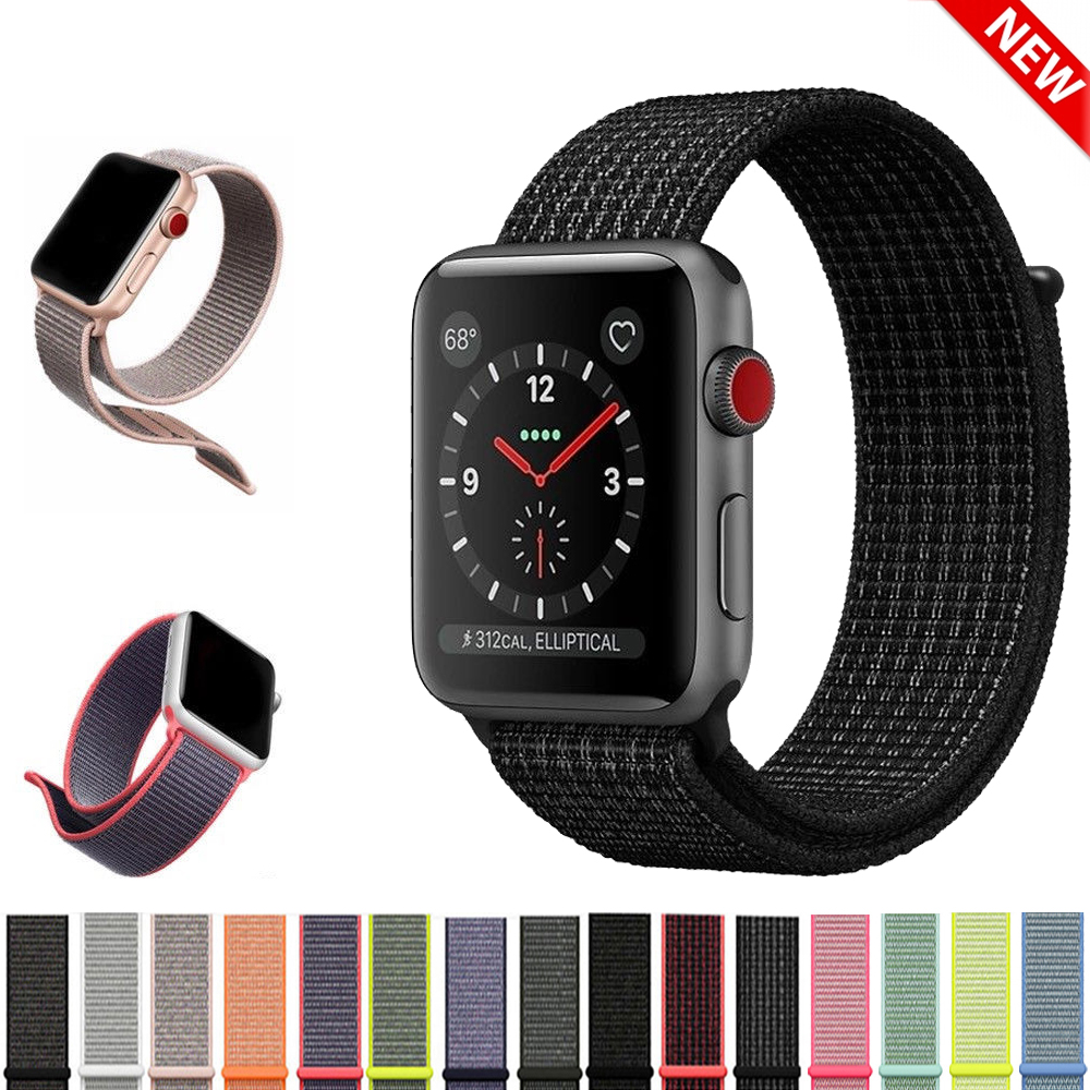 Sport Nylon Loop band Strap for Apple Watch Band 42mm 38mm iwatch 3/2/1 Straps Replacement Wristband Bracelet Watchbands Belt survival nylon bracelet brown