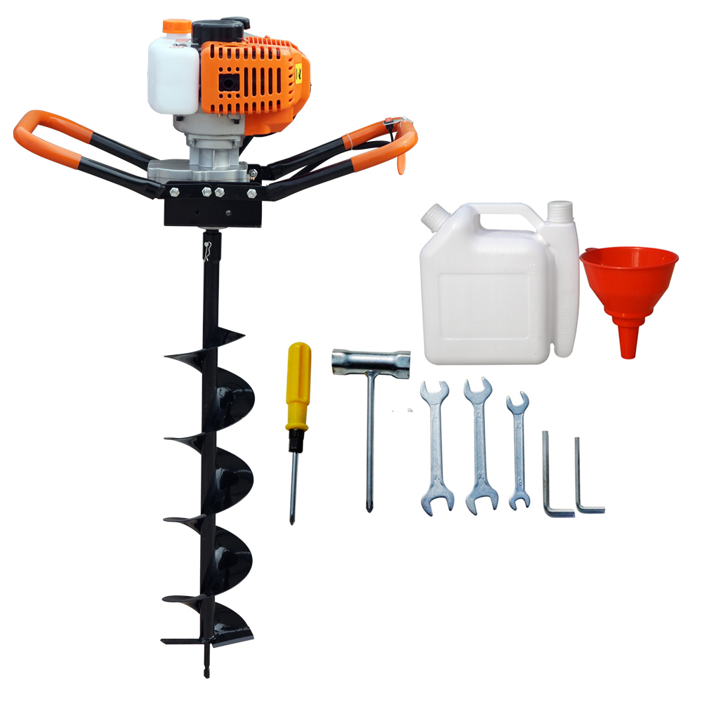 ECO 52cc Power Engine 2.2HP Gas Powered Post Hole Digger 6 10 Auger Bits US agricultural drill cultivator digger 71cc earth hand auger post hole auger drill for garden tool page 6