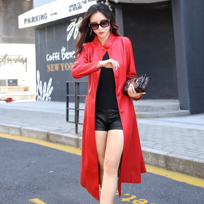 2017 Spring Autumn Women Leather Jacket Fashion High-end PU Leather Coats X-long Belted Slim PU Leather Trench Coats