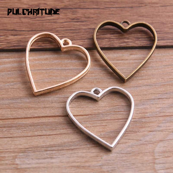 10pcs 20*34mm Three Color Alloy Jewelry Accessories Heart Charm Hollow Glue Blank Pendant Tray Bezel 12D51