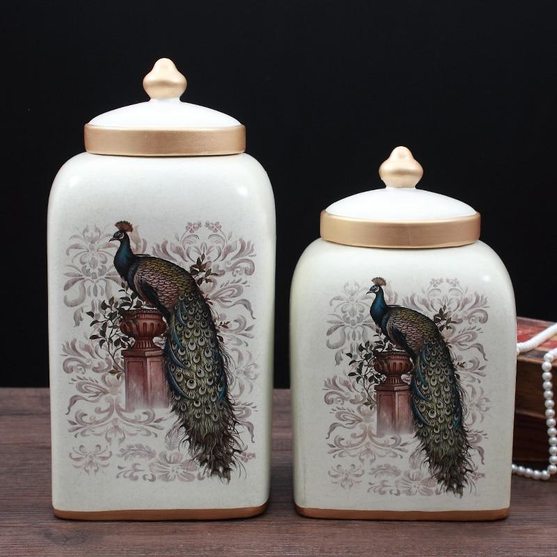 Американский Country Fresh керамический кувшин с крышкой бак для хранения домашней обстановки украшения ремесла showroom украшения комнаты