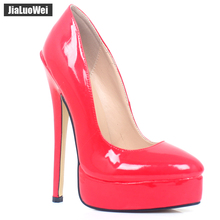 jialuowei 7 Super High Thin Heel Platform Pumps Round toe Shallow Mouth Sexy Fetish Shoes 18CM Heels Size 36-46