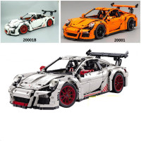 2704 PCS 20001 20001B White Orange Technic Race Car Model Building Kits Blocks Bricks DIY Toys Compatible With Legoingly 42056