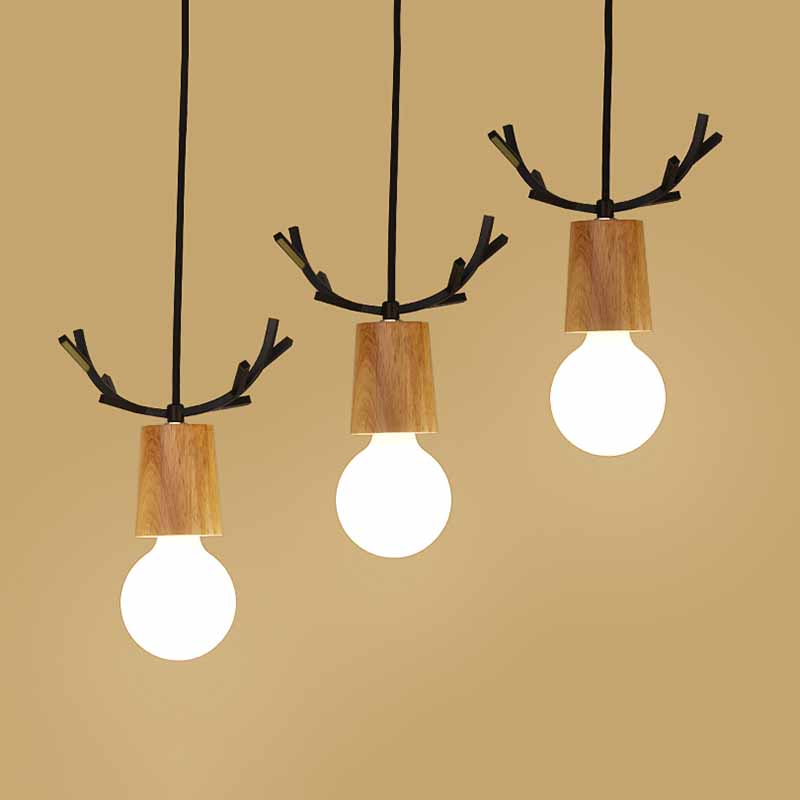 Nordic Antler Wood Pendant Lights Modern Northern American Art Decor Wrought Black Oak Pendant Lamp For Kids Dining Room Living (6)