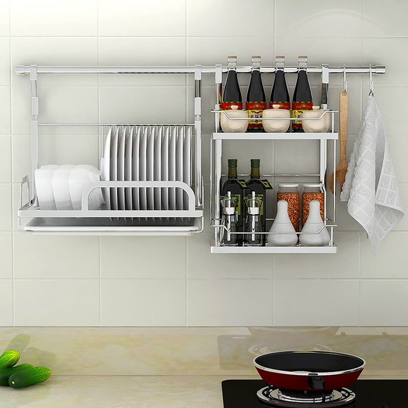 singaye 304 stainless steel wall hanging rack kitchen shelf organizer tools plate spoon storage frame drain bowl rack dish rack in racks holders from home - Kitchen Shelf Organizer