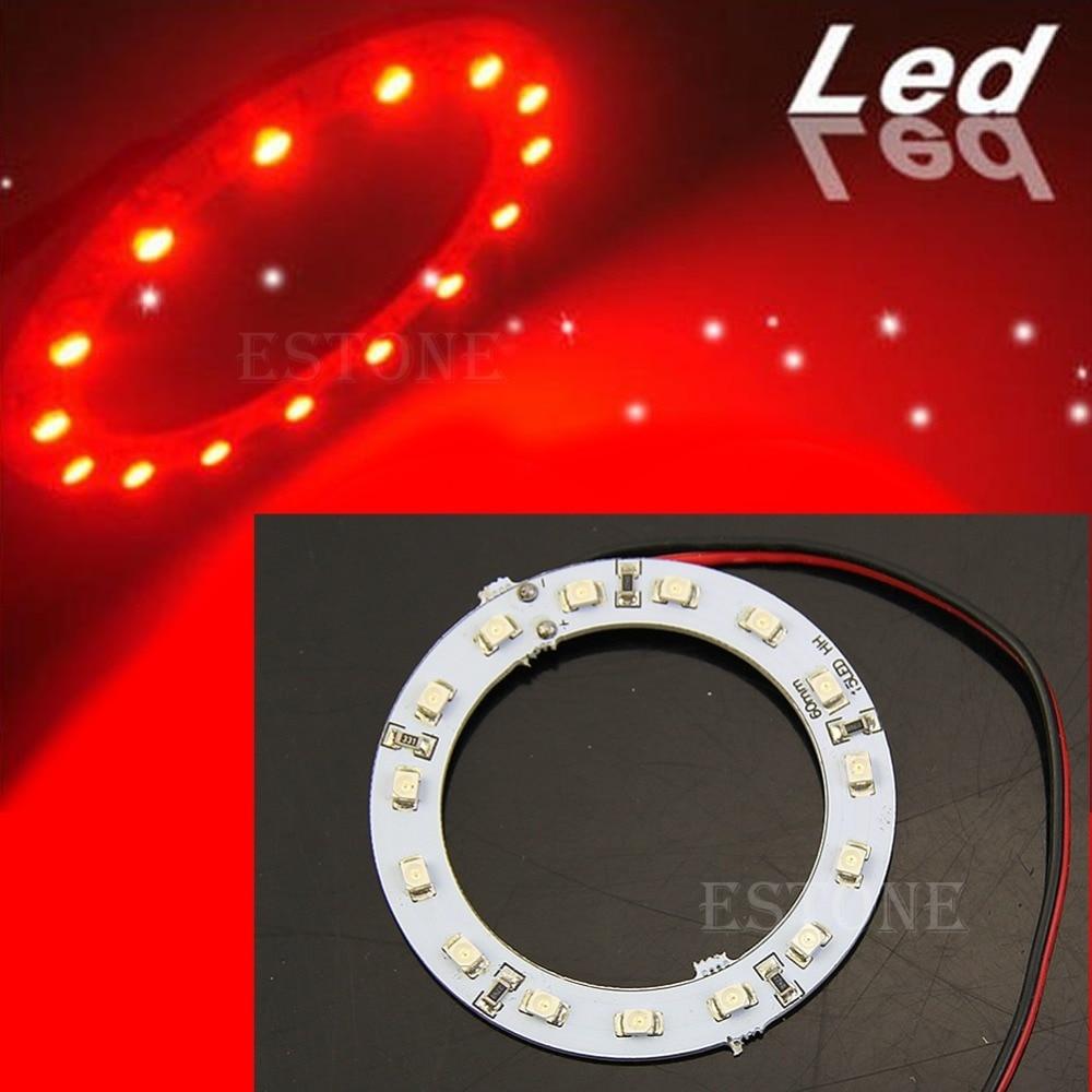 2x Bright Red 60mm Angel Eyes 15 SMD LED Ring Car Light DC 12V
