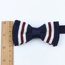 Kid Neck Ties Tuxedo Knitted Bowtie Children Bow Tie Thick Double Deck Pre Tied Adjustable Knitting Casual Ties