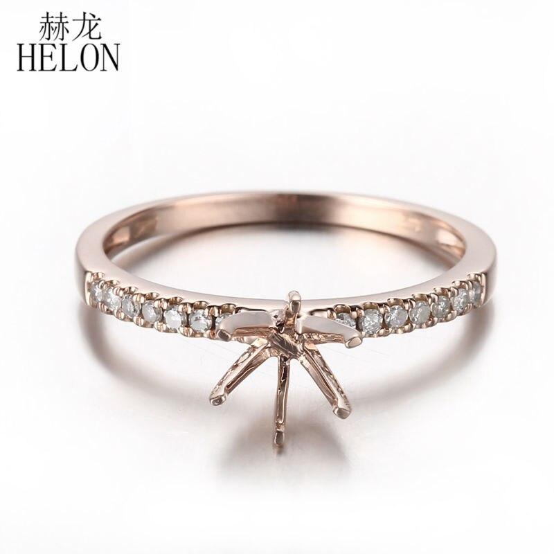 купить Women's Fine Jewelry 6mm Round Shape Solid 14k Rose Gold Pave Natural Diamonds Semi Mount Ring Engagement Wedding Exquisite Ring по цене 20171.46 рублей