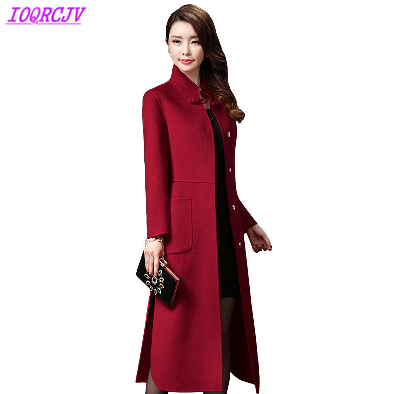Double faced wool coat women 2018 autumn winter high quality Cashmere jackets Plus size 4XL long woolen coat Slim female H491