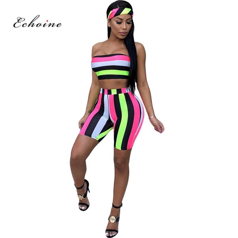 Echoine Sexy Two Piece Set Women Print Multicolor Stripe Sleeveless Strapeless Elastic Crop Tops Short Pants Suit Beach Outwear|Women