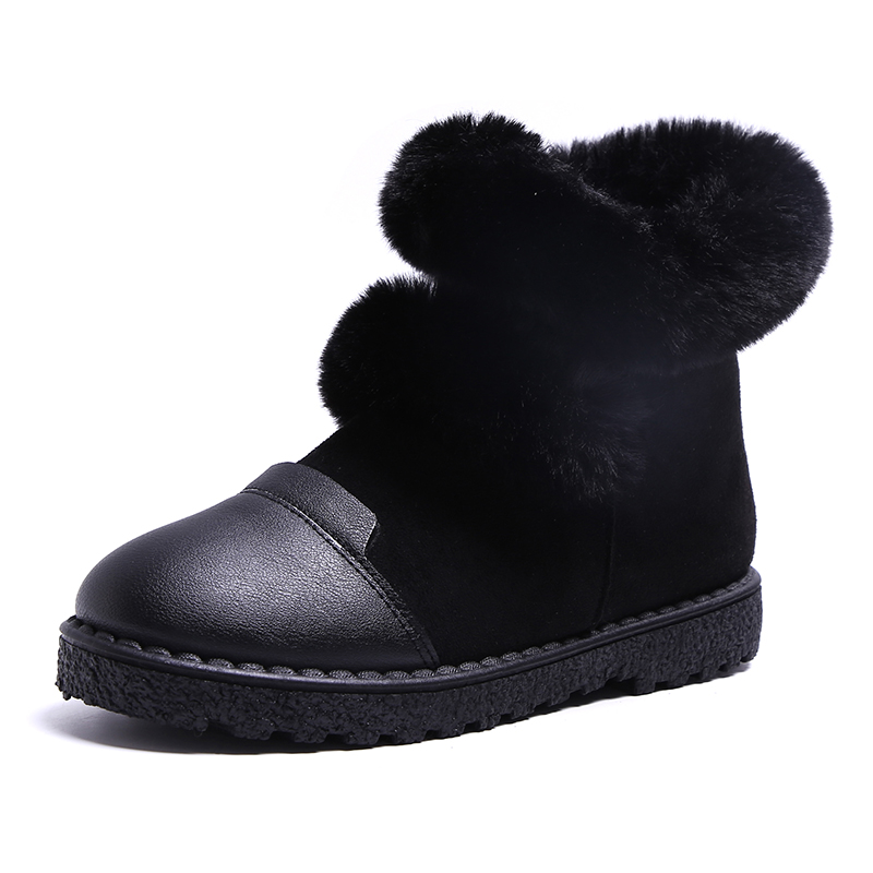 Lucyever plush ankle boots for women brand design fluffy fur snow boots woman flats leather short booties shoes zapatos mujer