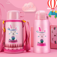 650ml Cartoon Thermos Bottle with Straw Stainless Steel Insulate Thermocup Vacuum Thermal Mug Warm Kid Children Birthday Gift