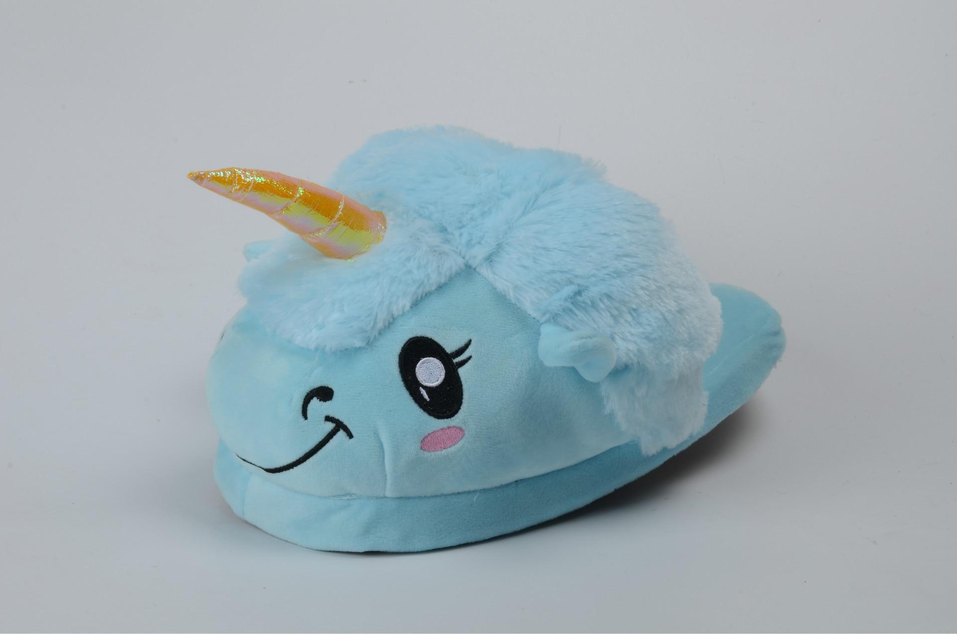 New Unicorn Slippers Kids Winter Warm Plush Baby Boy Girls Slippers