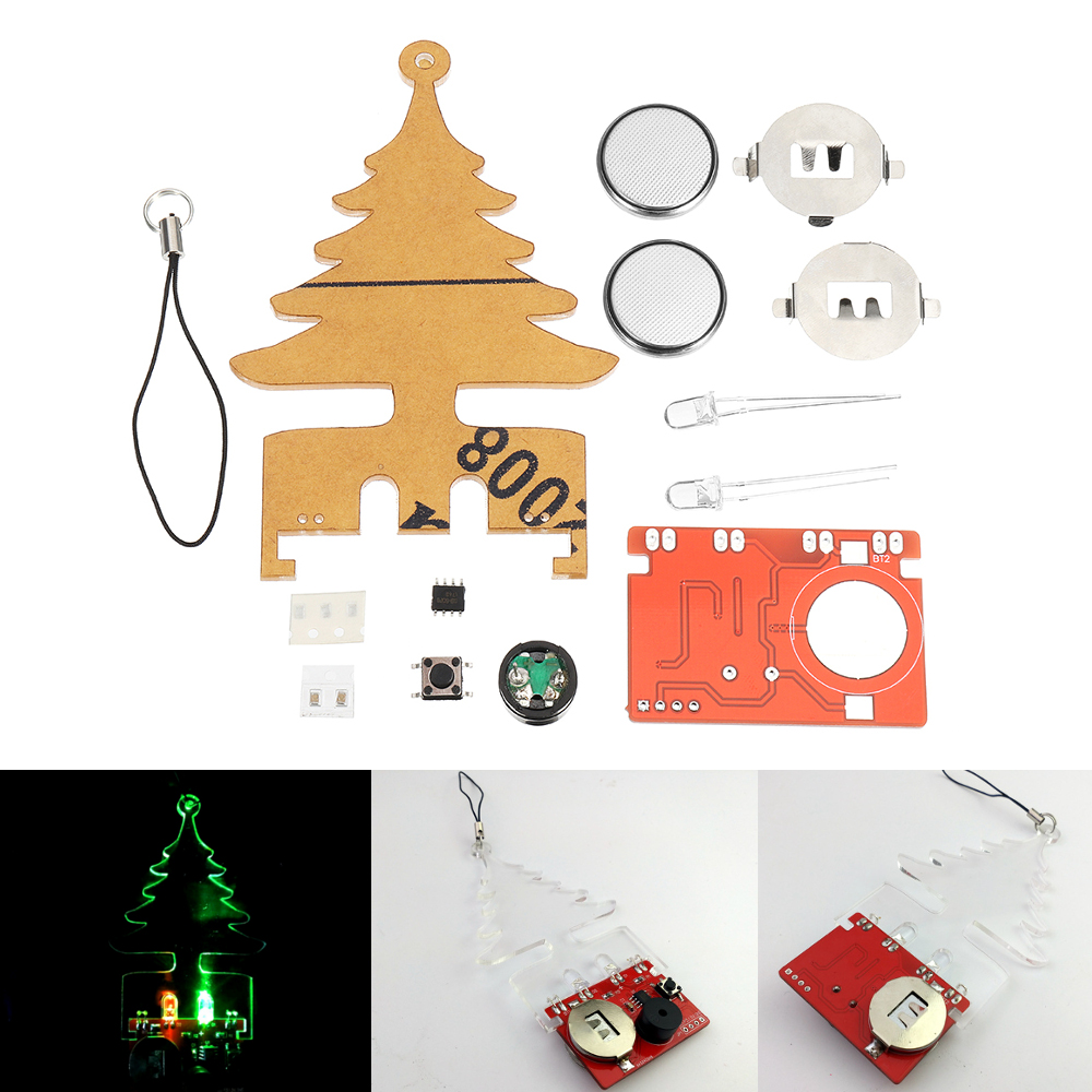 DIY Electronic Music Flash Tree Kit Battery Power LED Flashes Tree Soldering Practice Board Module