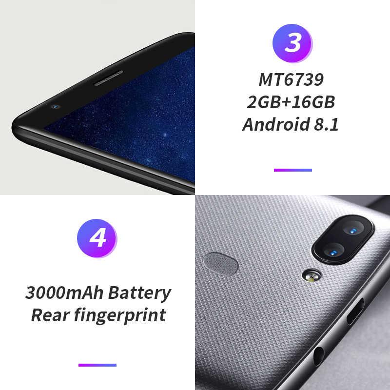 Smartphone Original Blackview A20 pro 18:9 5.5 pouces Android 8.1 double caméra 2 GB RAM 16 GB ROM MT6739 8MP 4G LTE téléphones mobiles