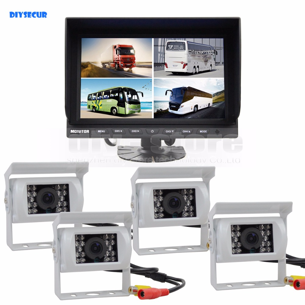 DIYSECUR 9 Inch Split Quad Display Rear View Monitor + White 4 x CCD Camera for Car Truck Bus Video Surveillance SystemDIYSECUR 9 Inch Split Quad Display Rear View Monitor + White 4 x CCD Camera for Car Truck Bus Video Surveillance System