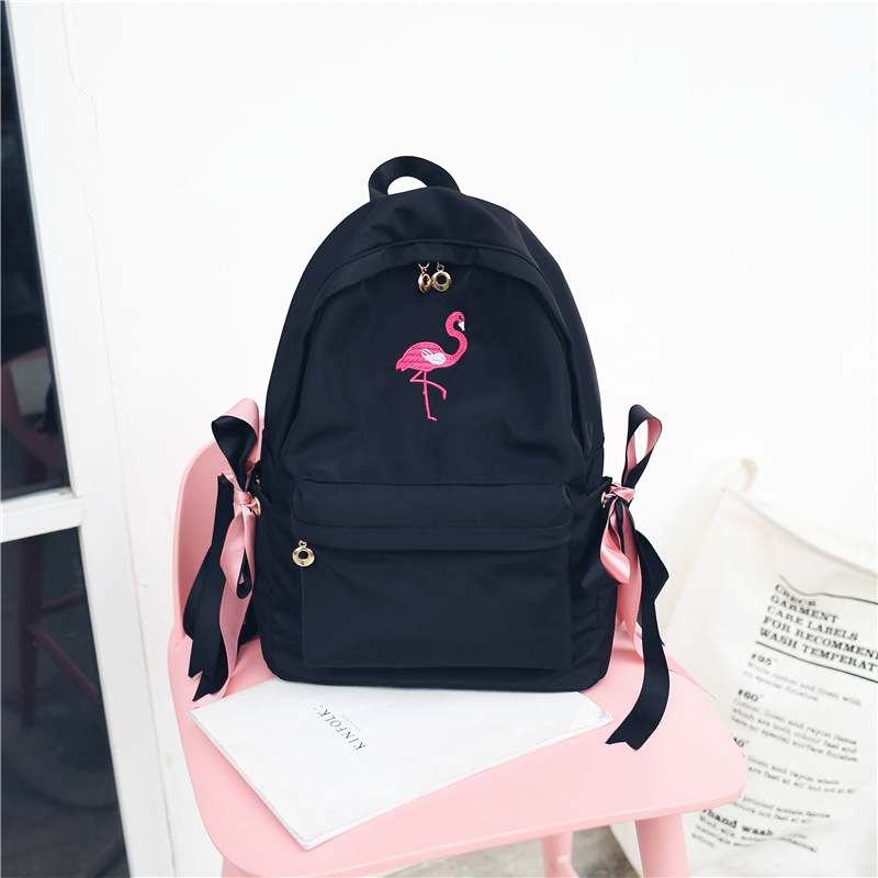 Embroidery Flamingos Women Backpacks Waterproof Ny