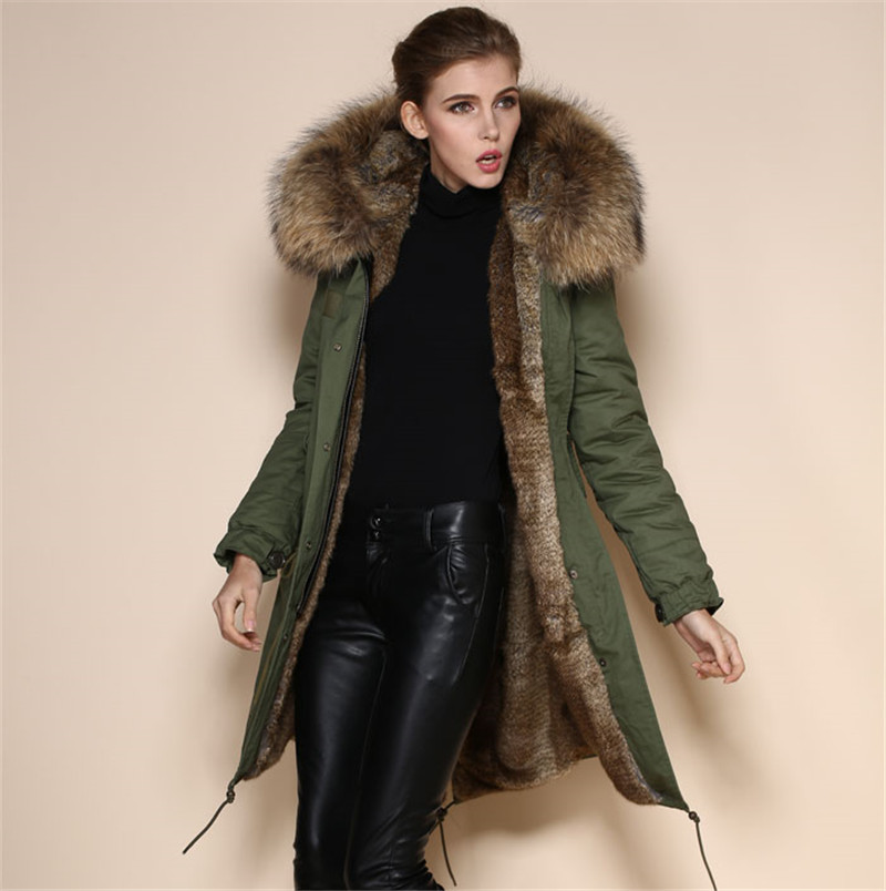 High quality rabbit fur lined army green, black, dark blue coats ...