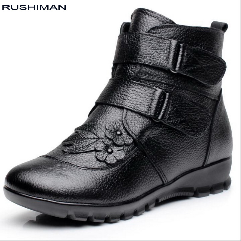 RUSHIMAN Winter Genuine Leather Ladies Ankle Boots Women Black Flat Warm Cow Leather Short Snow Boots