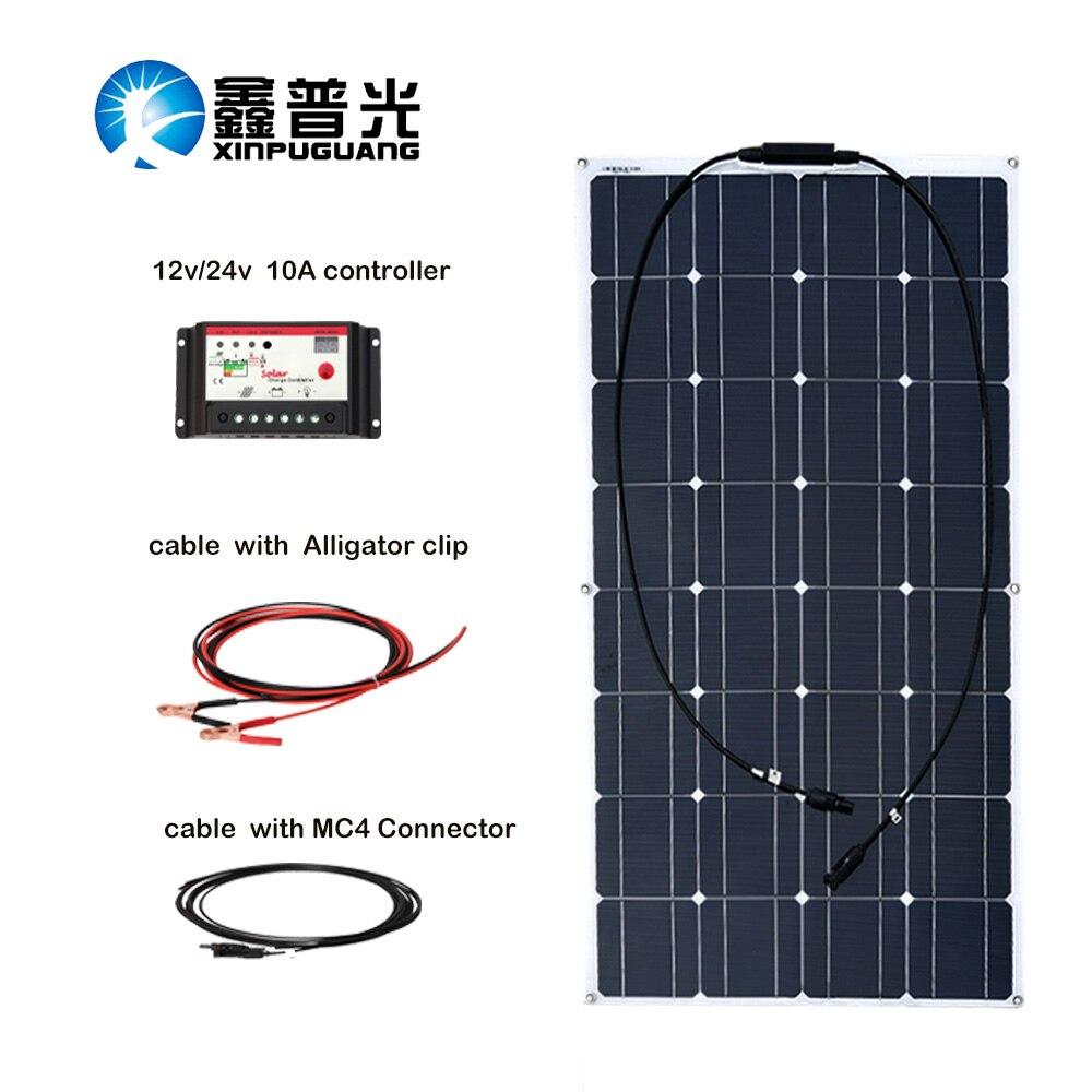 100w monocristallin Panneau Solaire système de cellules 10a contrôleur câble Mc4 connecteur pour 12v batterie Charge Panneau Solaire kit ensemble