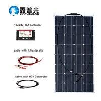100 Вт монокристаллического кремния Панели солнечные ячейки Системы 10a кабеля контроллера Mc4 разъем для 12 В Батарея зарядки панно Solaire