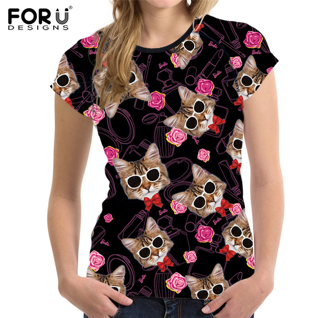 Forudesigns Cat T Shirts Women Tops Black Funny Hello Kitty Tee