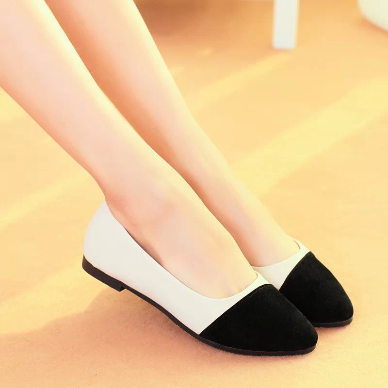 3f3645609c4f5 2014 Fashion Patchwork Round Toe Slip on Women Flats Plain Color Block Women  Casual Flat Shoes Ladies Cotton Fabric Ballet Flats-in Women's Flats from  Shoes ...