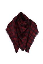 Wool Blend Tartan Plaid Soft Scarf Wrap Shawl Blanket Stole Pashmina Red+Black