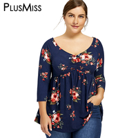 PlusMiss Plus Size 5XL Sexy Floral Print Tunic T Shirt Women Spring Autumn 2017 Overized T
