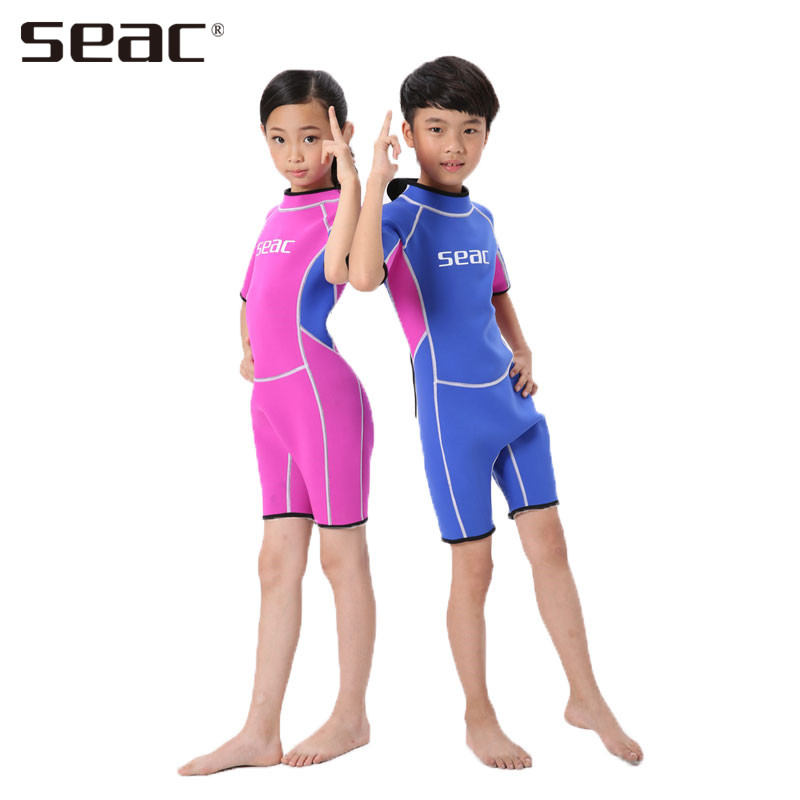 SEAC Swimsuit Children Short Sleeves Swimwear Surfing Dress Jellyfish Warm Bathing Suit Wetsuits Diving F