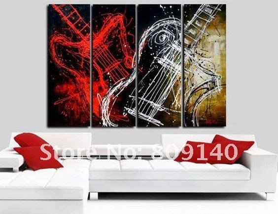 Oil painting guitar art huge decoration modern abstract for Hotel wall decor