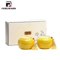 Royal Style Teaware Gift Box+double Tea Jar Kit / Ceramic Porcelain Tea Caddies Tieguanyin Puer Nut Cady Canister Cans Decor Art