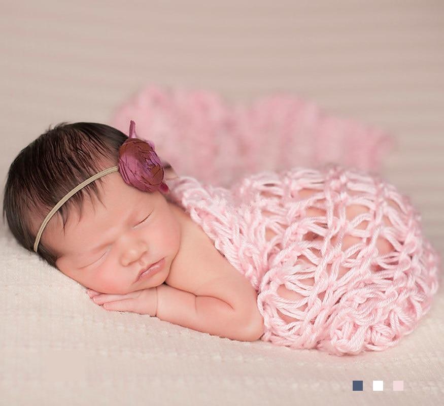 fri frakt 40 * 60 cm handvävda nyfödda baby luftkonditionering filt matta mode fotografi rekvisita paket baby foto pr