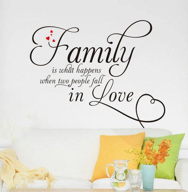 New Arrival Fashion1pc Black Home Decor Family In Love Pattern Bedroom Living Room Wallpapers Wallsticker Free